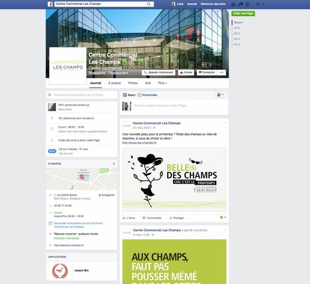 Page Facebook Les Champs